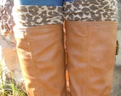 Woman's brown cheetah print half boot socks/boot cuffs