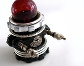 Retro Hot Rod Red Black and Silver Robot - Assemblage Steampunk Robot Sculpture