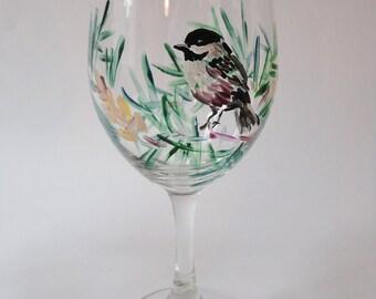 Maine Chickadee Wine Glass
