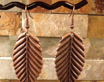 Antiqued Copper Birch Leaf Earrings
