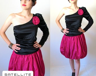 Vintage 80's Prom Party Dress One Shouldered Rouched Arm with Fuchsia Rose Accent and Bubble Mini Skirt  Size S/M