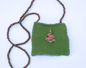 Hand Knit and Felted Green and Red Christmas Shoulder Bag Purse - Red Ribbon Tree