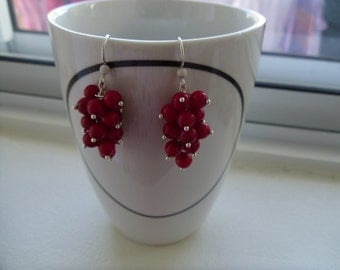 Red Coral Earrings, Sterling Silver,Valentine's Day