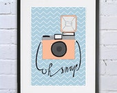 "Print poster ""Vintage camera: ""Oh snap"" art print, wall art, poster, illustration, camera artwork, camera poster, home decor, camera art"