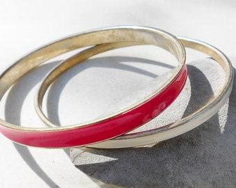 vintage bracelets in Pink and white enamel vintage bangles, arm jewelry