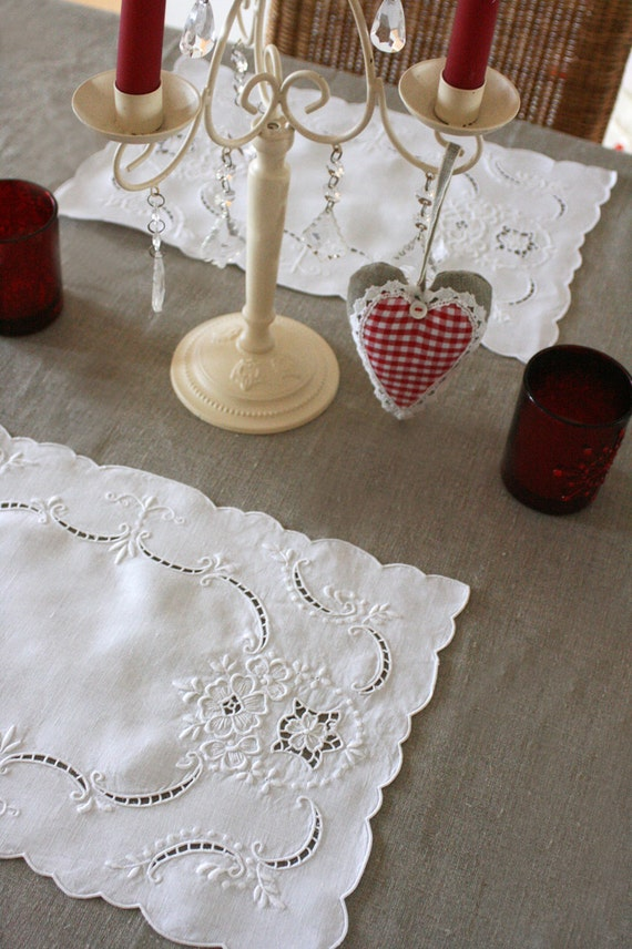 6 French Vintage Table Mats With Embroidery And Cut Work