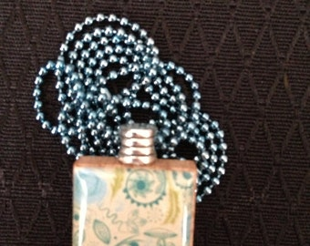 Abstract Blue Floral Scrabble Tile pendant necklace on ball chain