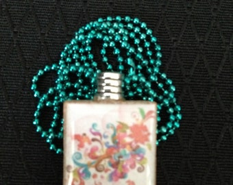 Psychedelic Floral Scrabble Tile pendant necklace on ball chain