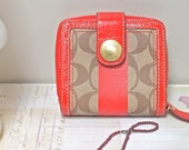 RESERVED FOR MARIA - Red Coach Wallet - Monogram Canvas and Leather