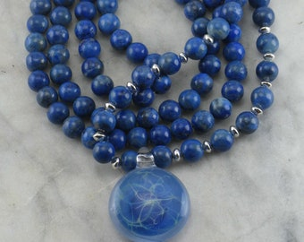 Wind Mala Necklace - Lapis Lazuli Malas Beads, Artisan Made, One of a Kind Glass Pendant -  Buddhist Prayer Beads, 108 Mala Beads