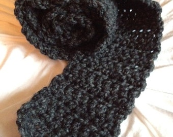 Chunky Thick Charcoal Gray Crocheted Scarf--Ladies--Teens