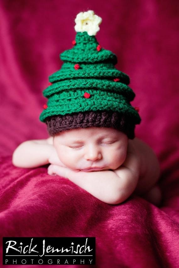 Free Crochet Christmas Tree Hat : Christmas Tree Hat Newborn Crochet Photography Prop