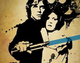 DIY Digital Download Star Wars Luke Skywalker Grunge Print