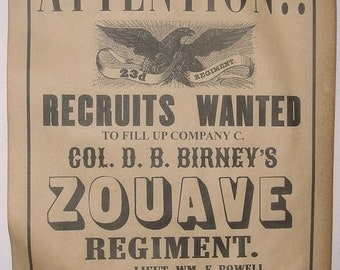 Set of 5 Civil War Recruiting Posters, Sharp-Shooters, Michigan, New Jersey, Navy, Zouave