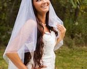 Teardrop - Two Tier White Wedding Veil