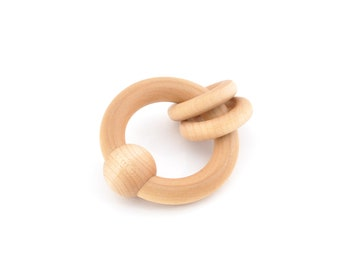 Baby Rattle Toy - Wooden Toy - Montessori Wood Teether - Waldorf Toy for Boy or Girl - Natural Grasping Toy - Eco Friendly Wooden Rattle (M)