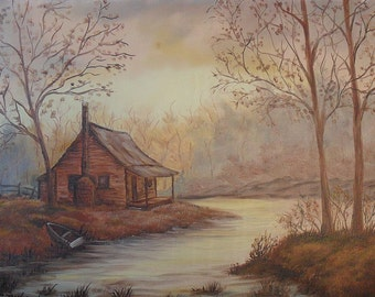 Cabin In The Woods Oil Painting on Canvas, Contemporary Painting & Signed by Artist