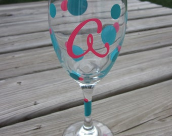 Personalized Initial Wine Glass - Polka Dots