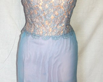 Vintage 1950's Lavender and Pink Ferman O'Grady two tone lace and silk wiggle dress