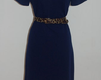1960's Navy shift dress with short sleeves and round neck with lovely belt loop neckline detail
