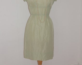 Vintage 1950's pale Green wiggle summer dress by Alfred Werber