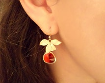 Ballerina Princess Ruby Red Stone Chandeliers. Azaliya Luxury Line. Brides, Bridesmaids Earrings. Gift Wrapping.