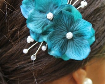 """Hair accessory,small blue flowers with crystal and pearl accents """"Serena"""""""