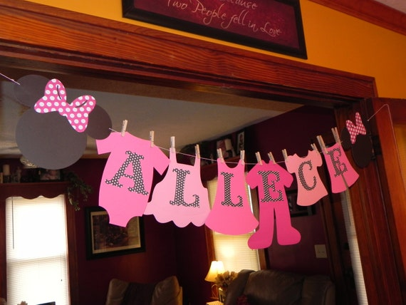 Items similar to minnie mouse baby shower clothesline - Minnie mouse baby shower decorations ...