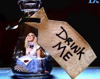"Looking Glass Girls - ""Drink Me"" - 10"" x 10""  Art Print"