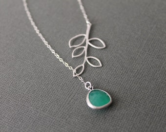Green Jade and Branch Lariat Necklace in STERLING SILVER CHAIN--Bridesmaids Gift,Perfect Gift, Gift for mom, Birthday Present