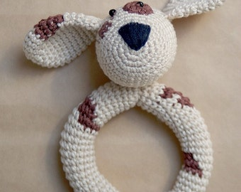 Baby Rattle Puppy: light brown/beige or dark brown - Rattling baby toys - Crochet, safe, friendly baby toy