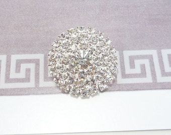 Round Silver Rhinestone Button (25mm, 1pc)