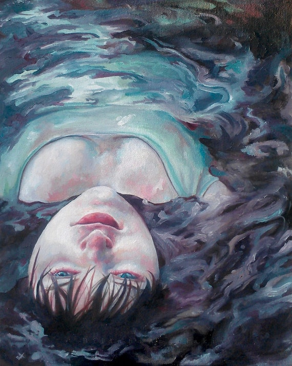 Saving Fish From Drowning Original Water Portrait Ophelia Oil