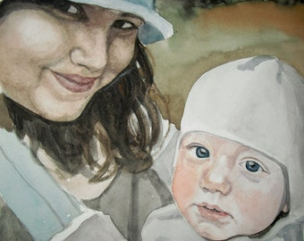 Custom watercolor portrait, two person, color