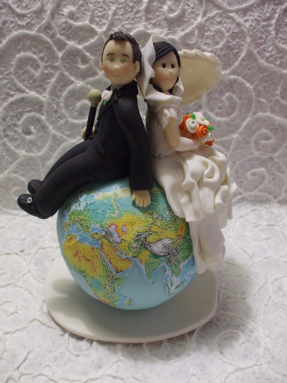 wedding cake toppers personalized and groom themed travel wedding cake 8812