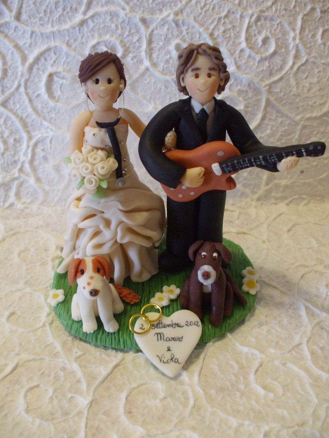 custom bride and groom with dog wedding cake topper