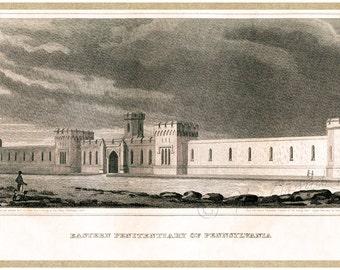 Antique Philadelphia Print - Eastern State Penitentiary - Federal Period Philadelphia