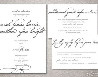 "Calligraphy ""Louise"" Wedding Invitation Suite - Romantic Modern Script Invitations - Personalized DIY Digital Printable or Printed Invite"