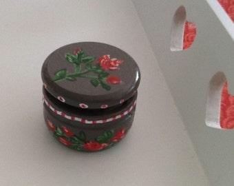 Wooden pill box. Handpainted. Floral decor.