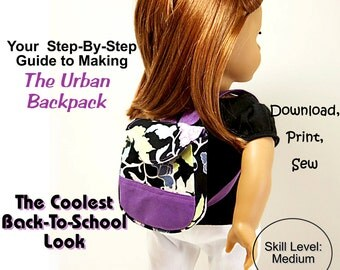 Pixie Faire Sew Urban The Urban Backpack Doll Clothes Pattern for 18 inch American Girl Dolls - PDF