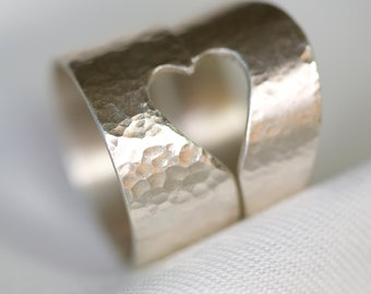 "Silver Shared Hearts ""Love is for Sharing"" Ring"