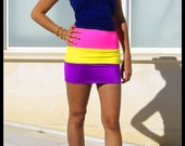60% CLEARANCE Sale! Tutti Frutti - 3 Tone Neon Bodycon Skirt by Sex Kitten Couture