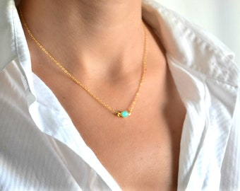 Gold turquoise necklace, gold chain with a oval turquoise teal stone pendant, bridesmaids gift. bridal wedding necklace, gift for her