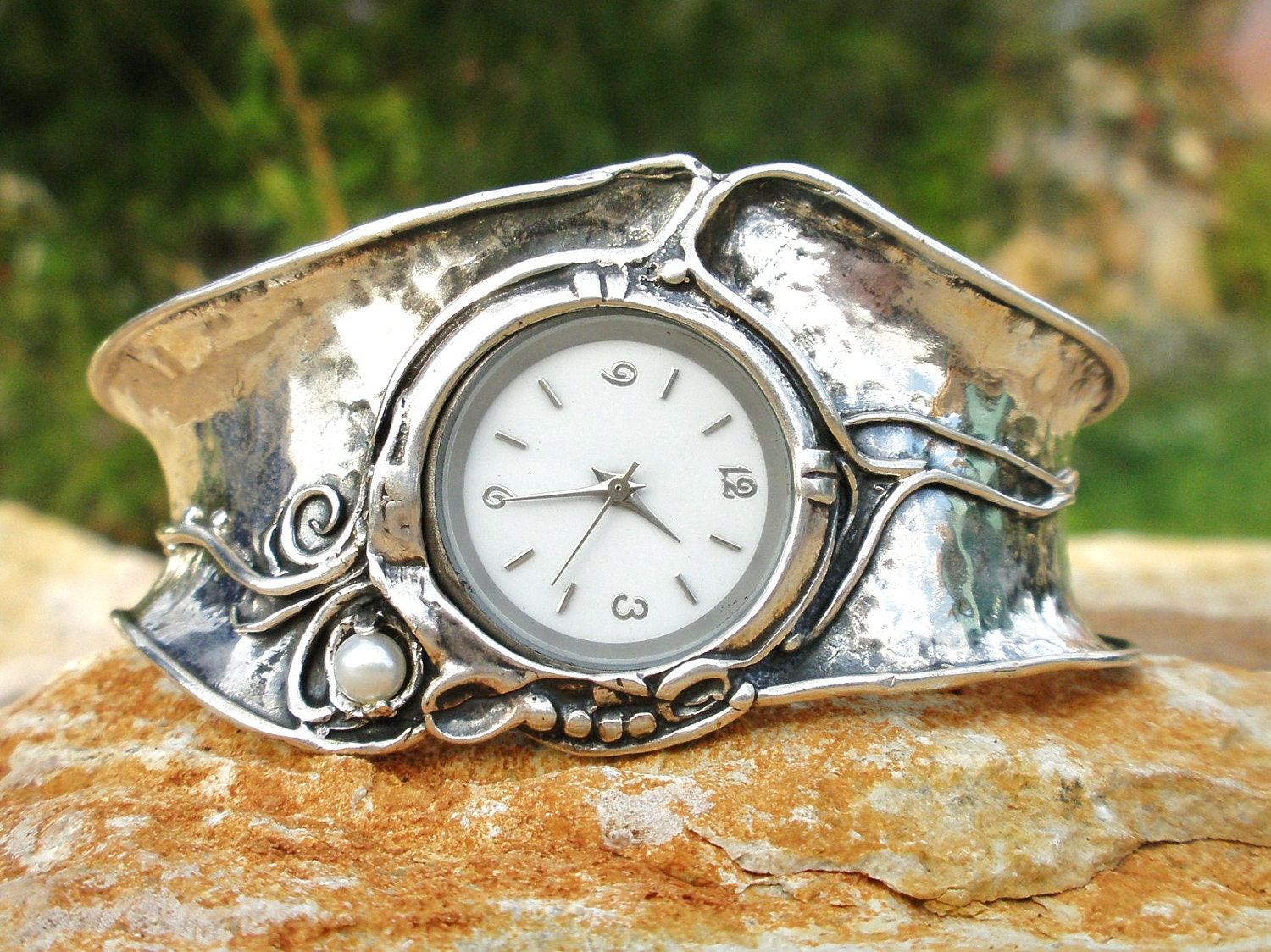 Handcrafted 925 Sterling Silver Watch Cuff Bracelet Pearl
