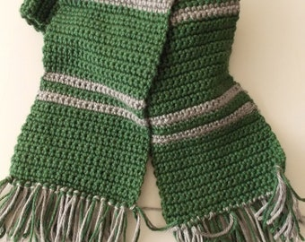 Green & Silver Striped House Scarf (Made to Order)