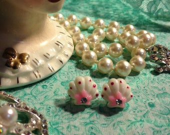 Pink and White Sea Shell Earrings