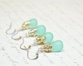 Set of 6 Bridesmaid Earrings Aqua Bridal Earrings Aqua Wedding Jewelry Mint Earrings Aqua Earrings Mint Bridesmaid Jewelry Earrings