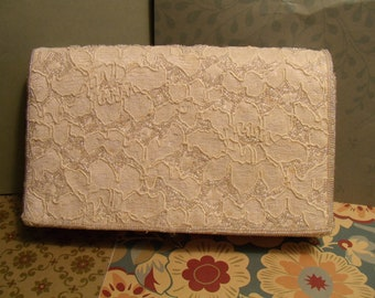 SALE Bridal Wedding Pearly White Vintage Lace Foldover Clutch Bag