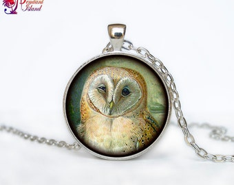OWL PENDANT   owl necklace White owl Jewelry Necklace for him  Art Gifts for Her for men Art Gifts