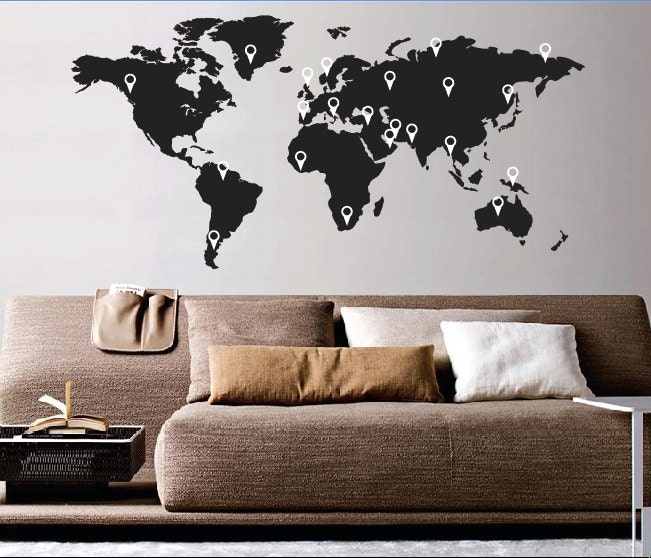 Large World Map Wall Sticker World Map Wall Sticker Decal